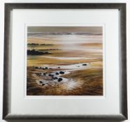 CERI AUCKLAND DAVIES limited edition (60/250) colour print, 'Marloes Sands', beachscape at low tide,