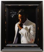 FABIAN PEREZ hand embellished limited edition (62/195) giclee on canvas -'Marcus III', featuring a