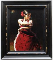 FABIAN PEREZ hand embellished limited edition (98/195) giclee on canvas - 'Celina con Lunares