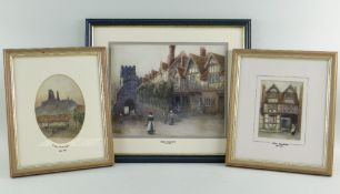 CIRCLE OF WILLIAM JAMES MULLER watercolours - entitled Corfe, Warwick and Shrewsbury, two bear