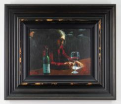 FABIAN PEREZ limited edition (22/150) giclee on canvasboard -entitled verso 'Man at Bar VII', signed