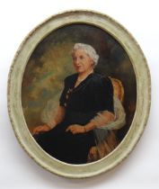PHILIP JOHN (British, 20th Century) oil on canvas - portrait of a lady, signed, oval 60 x 49cms