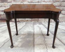 GEORGE III-STYLE MAHOGANY FOLD-OVAL CARD TABLE, inlaid baize playing surface with dished