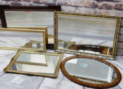 ASSORTED VINTAGE & MODERN WALL MIRRORS, including a carved oak mirror with outset corners (5)