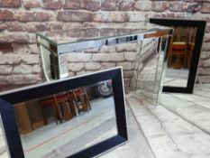 CONTEMPORARY MIRRORED HALL TABLE & PAIR ALUMINIUM WALL MIRRORS, table 122w x 40d x 89cms h,