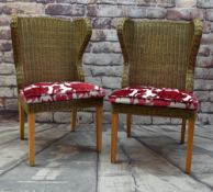 PAIR OF MODERN INDONESIAN WOVEN CANE CONSERVATORY CHAIRS, with red floral loose cushions (2)