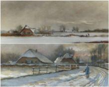 HENDRIK KLIJN (Dutch, 1860-1929) watercolours - farmsteads in snow, signed and dated Dec '96, 32 x
