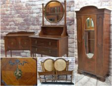 EDWARDIAN PAINTED MAHOGANY BEDROOM SUITE, floral and ribbon swag decoration (5)
