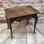 ANTIQUE OAK SIDE TABLE, associated top on base fitted with frieze drawer, cabriole legs, pad feet,