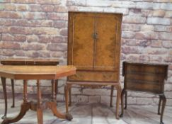 ASSORTED BURR WALNUT OCCASIONAL FURNITURE, comprising 1930's cocktail cabinet, foldover card