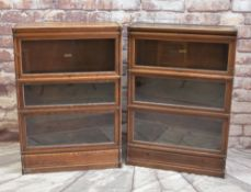 TWO VINTAGE GLOBE WERNICKE OAK BOOKCASES, each of three tiers with sliding glazed doors, one with
