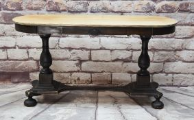 CONTINENTAL STAINED & FLORAL PAINTED NARROW SOFA TABLE, oval top on baluster supports joined by