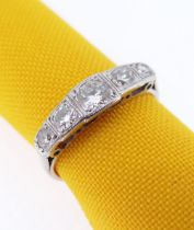 18CT WHITE GOLD & PLATINUM FIVE-STONE DIAMOND RING, in Art Deco style, the central stone 0.25cts