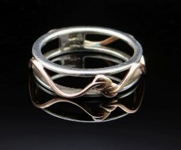 EARLY CLOGAU SILVER & ROSE GOLD VINE RING, Size O, 2.7gms in original box