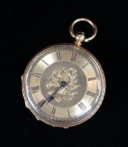 18K GOLD FOB WATCH, overall engraved, the dial having Roman numerals and foliate decoration, 32.4gms