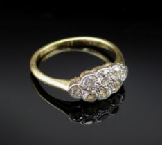 18CT GOLD DIAMOND CLUSTER RING, the eight stones totalling 0.6cts approx., ring size J, 2.0gms, in