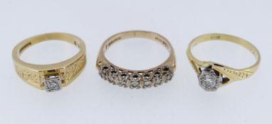 THREE DIAMOND RINGS comprising 18ct gold illusion set ring 3.1gms (size N / O), 18ct gold diamond