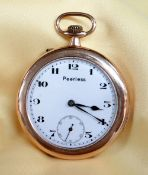 9CT GOLD SLIM OPEN FACE POCKET WATCH, the white enamel dial marked 'Peerless' having subsidiary