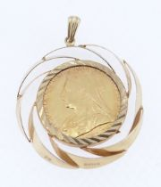 VICTORIAN GOLD SOVEREIGN, 1898, set in 9ct gold pendant mount, 10.4gms