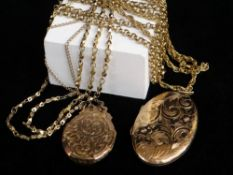 ASSORTED JEWELLERY comprising 9ct gold scroll and foliate engraved oval locket 12.1gms, yellow metal