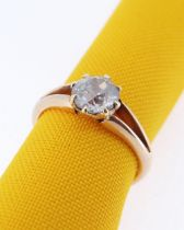 15CT GOLD DIAMOND SOLITAIRE RING, the old European cut diamond measuring 1.0cts approx. (visual