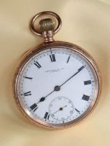 GEORGE V 9CT GOLD OPEN FACE POCKET WATCH, the white enamel dial having subsidiary seconds dial and