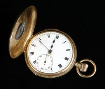 GEORGE V 9CT GOLD HALF HUNTER POCKET WATCH, the white enamel dial with subsidiary seconds dial and