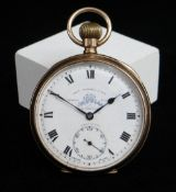 GEORGE V 9CT GOLD OPEN FACE POCKET WATCH, top wind, the white enamel dial having Roman numerals,