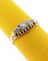 18CT GOLD FIVE-STONE DIAMOND RING, the central stone 0.2cts approx., ring size S, 3.6gms, in ring