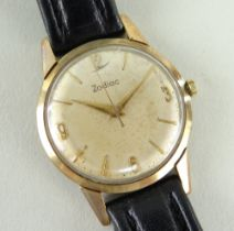 YELLOW METAL GENTS ZODIAC WRISTWATCH, 32mm case, on leather strap Auctioneer's Note: unable to