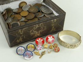 ASSORTED JEWELLERY & COINS comprising gold plated bangle, plated earrings and swimming medals etc,