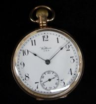 GEORGE V 9CT GOLD WALTHAM OPEN FACE POCKET WATCH, the white enamel dial having subsidiary seconds