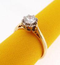 18CT GOLD SINGLE-STONE DIAMOND RING, the illusion claw set diamond 0.5cts approx (visual