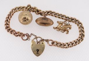 9CT GOLD CHARM BRACELET, curb link, with three 9ct gold charms comprising rugby ball, football and