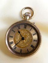 18K GOLD FOB WATCH, overall engraved, the dial having Roman numerals and foliate decoration, 45.8gms