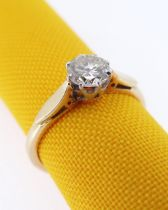 18CT GOLD SINGLE-STONE DIAMOND RING, the claw set diamond 0.4cts approx. (visual estimate), ring