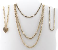 ASSORTED 9CT GOLD JEWELLERY comprising 9ct gold necklace, 57cms long, together with three 9ct gold