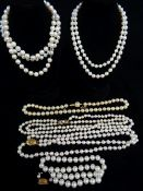 ASSORTED PEARLS comprising four strands of Ciro pearls with 9ct gold clasps in box, together with