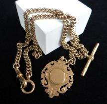 9CT GOLD ALBERT WATCH CHAIN, curb link, with T-bar and pendant, 35.4gms overall