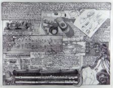 IAN GRAINGER etching - diagrams and typography relating to a musician's flute, entitled 'A Flute',