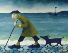 MURIEL DELAHAYE limited edition (67/275) colour print - 'Walking The Dog', signed in pencil, 37 x