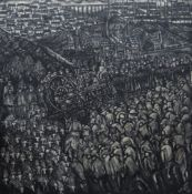 NICK EVANS large oil on board - expansive and powerful depiction of a mining community with