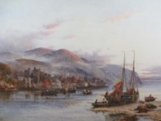W STUART LLOYD RBA (fl. 1875-1929) large exhibition quality watercolour - Conwy Castle, Town and