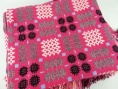 VINTAGE WELSH TAPESTRY REVERSIBLE BLANKET of geometric design, pink ground with black, grey and