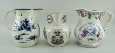 TWO 19TH CENTURY WELSH JUGS & ANOTHER UNKNOWN comprising (1) commemorative transfer for the 1832