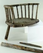 RARE ELM CHILD'S WELSH STICK BACK CHAIR for restoration, with fourteen turnings to support the