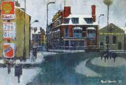 HYWEL HARRIES dry-mounting print - Chalybeate Street, Aberystwyth with Salvation Army Building and