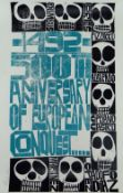PAUL PETER PIECH two colour lithograph on gloss paper - critique on colonialism with series of