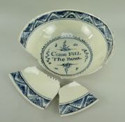 LATE 18TH CENTURY CAMBRIAN POTTERY BOWL decorated in underglazed blue swags and floral tiles to