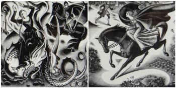 AGNES MILLER PARKER two limited edition (2/18 and 7/19) wood engravings framed together - from